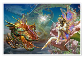 Poster Premium The dragon and the fairy