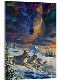 Stampa su legno  Moonlight Wolfpack - Adrian Chesterman