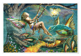 Poster Premium Dragon and fairy swing
