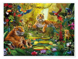 Poster Premium  Tiger Family in the Jungle - Jan Patrik Krasny