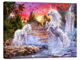 Stampa su tela  Unicorn Waterfall Sunset - Jan Patrik Krasny