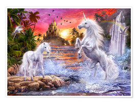 Poster Premium  Unicorn Waterfall Sunset - Jan Patrik Krasny
