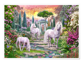 Poster Classical garden unicorns