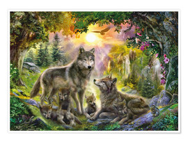 Poster  Autumn Wolf Family - Jan Patrik Krasny