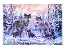 Poster  Winter Wolf Family - Jan Patrik Krasny