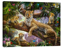 Stampa su tela  Tree Top Leopard Family - Jan Patrik Krasny