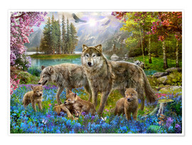 Poster Spring Wolf Family