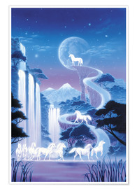 Poster White unicorn falls