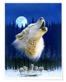 Poster Premium  Howling wolf - Robin Koni