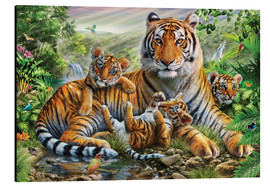 Stampa su alluminio  Tiger and Cubs - Adrian Chesterman