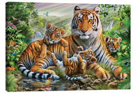 Stampa su tela  Tiger and Cubs - Adrian Chesterman