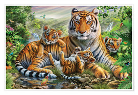 Poster Premium  Tiger and Cubs - Adrian Chesterman
