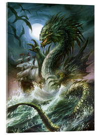 Stampa su vetro acrilico  The sea serpent - Dragon Chronicles
