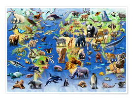 Poster Premium  One Hundred Endangered Species - Adrian Chesterman