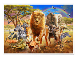 Poster Premium  African Stampede - Adrian Chesterman