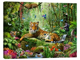 Stampa su tela  Tiger in the Jungle - Adrian Chesterman