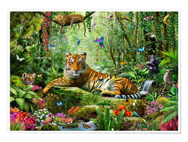 Poster Premium  Tiger in the Jungle - Adrian Chesterman