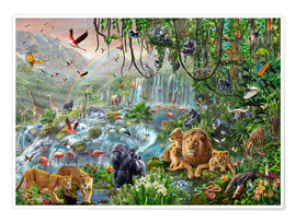 Poster Premium  Jungle Waterfall - Adrian Chesterman