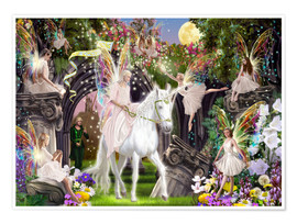 Poster Premium  Fairy Queen with Unicorn - Garry Walton