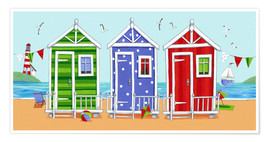 Poster Premium Colorful beach huts