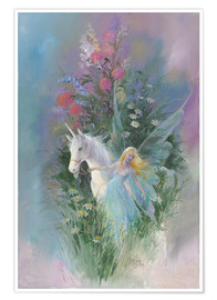 Poster  Meadow Fairy & Unicorn - Mimi Jobe