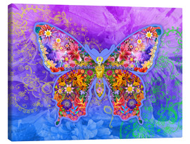 Stampa su tela  Blue Butterfly Floral - Alixandra Mullins