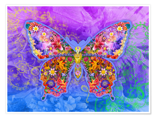 Poster Premium Blue Butterfly Floral