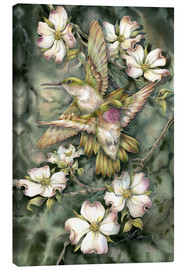 Stampa su tela  Hummingbirds and flowers - Jody Bergsma