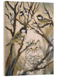 Stampa su legno  Cat and birds - Jody Bergsma