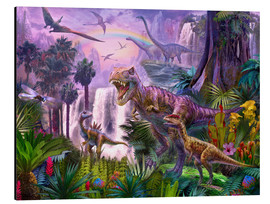Stampa su alluminio  Dinos in the jungle - Jan Patrik Krasny