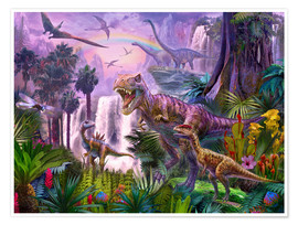 Poster Premium  Dinos in the jungle - Jan Patrik Krasny