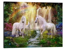 Alluminio Dibond  Waterfall Glade Unicorns - Jan Patrik Krasny
