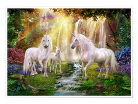 Poster Waterfall Glade Unicorns
