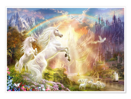 Poster Premium Sunset unicorns
