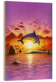 Stampa su legno  Day of the dolphin - sunset - Robin Koni