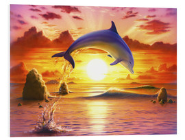 Stampa su schiuma dura  Day of the dolphin - sunset - Robin Koni