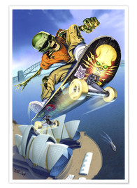 Poster Premium  Skateboarding over Opera House - Extreme Zombies