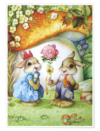 Poster Premium  Rabbits and rose - Petar Meseldzija