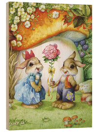 Stampa su legno  Rabbits and rose - Petar Meseldzija