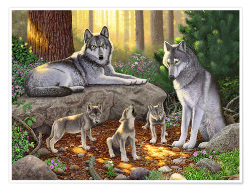 Poster Premium A family of wolves