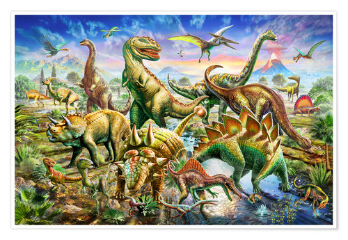 Poster Premium Assembly of dinosaurs