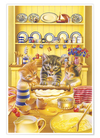 Poster Premium Cats cooking cake
