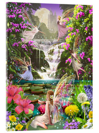 Stampa su vetro acrilico  Waterfall fairies - Garry Walton