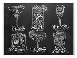 Poster Premium Ricette di cocktail (in inglese)