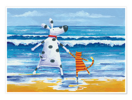 Poster  Duke and Sweetpea Love Paddling - Peter Adderley