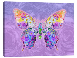 Stampa su tela  Purple Floral Buttefly - Alixandra Mullins