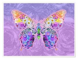 Poster Premium  Purple Floral Buttefly - Alixandra Mullins