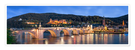 Poster  Heidelberg skyline panorama at night with castle and Old Bridge - Jan Christopher Becke