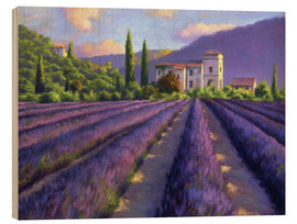 Stampa su legno  Lavender field with Abbey - Jay Hurst