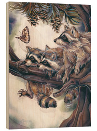 Stampa su legno  Raccoons and butterfly - Jody Bergsma